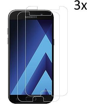 Tanque [3 pieza] Cesar de vidrio cristal Cristal protector para Samsung Galaxy A5 2017, anti arañazos, anti de aceite, anti de burbujas, 9h Protector de pantalla de cristal para pantalla: Amazon.es: Electrónica