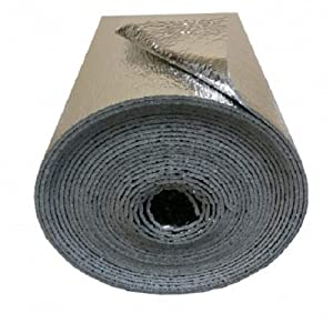 """Supershield Multipurpose 16"""" x 50' Reflective Foam Core DIY Insulation Weatherization Kit Includes Foil Tape, Knife, and Squeegee - Water Proof / Meets Fire Codes / Made in USA"""