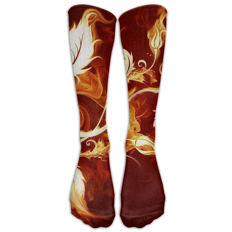 39fecb58084aa High Boots Crew Fire Flower Compression Socks Comfortable Long Dress ...
