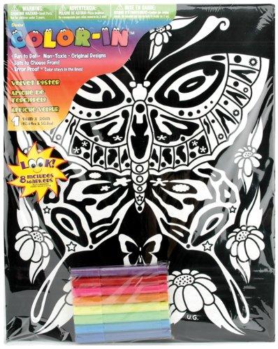 Velvet Butterfly Poster (Darice 16-Inch by 20-Inch Velvet Art Set, Butterfly)