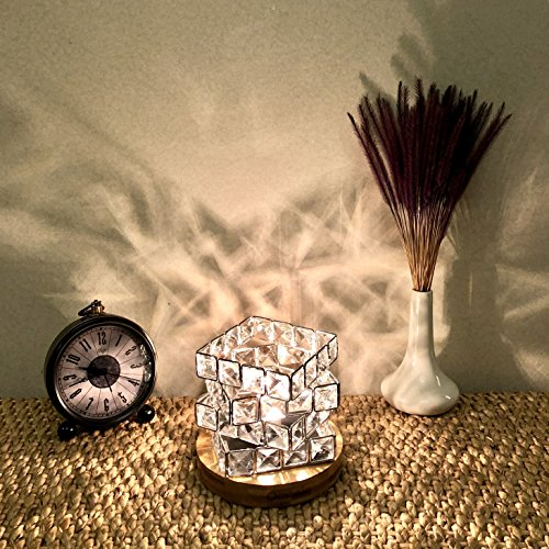 Maymii.Home Omonic Luxury Mosic Glass Crystal Basket Cube Fire Bowl Pink Himalayan Salt Lamp Crystal Chunks Table Desk Lamp Light Night Light Lights Touch Dimmer Switch Control With Bamboo Base