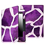 Fintie Folio Case for Kindle Voyage - Premium PU Leather Book Style Case Cover with Auto Sleep/Wake (will only fit Amazon Kindle Voyage 2014), Giraffe Purple