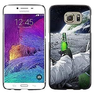 KLONGSHOP // Cubierta de piel con cierre a presión Shell trasero duro de goma Protección Caso - Astronauta de la cerveza - Samsung Galaxy S6 //
