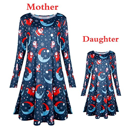 iLH ZYooh Dress,Family Mum Daughter Casual Christmas Long Sleeve Snowman Snowflake Printed Dress Swing (Navy, Child 110)