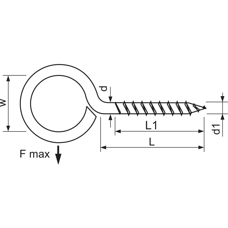 verzinkt 6 St/ück SECOTEC Ringschraube Schraubhaken mit Holzgewinde /Ösenschraube 40x14 mm