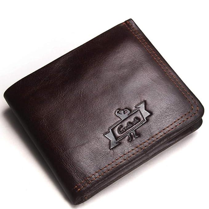 Monedero de cuero para hombres Monedero de moda Zip Monedero ...
