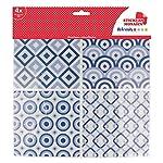 Artemio-4-fogli-mosaico-blu-autocollante-Multicolore-4-quadretti-di-125-x-125-cm