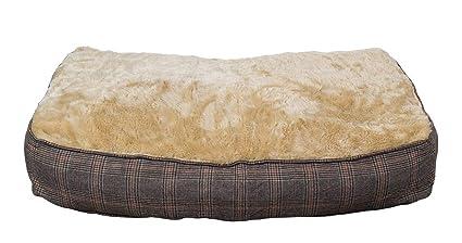 Colchoneta para perros XL extra gruesa, de efecto tweed, 100x70 cm, cama para
