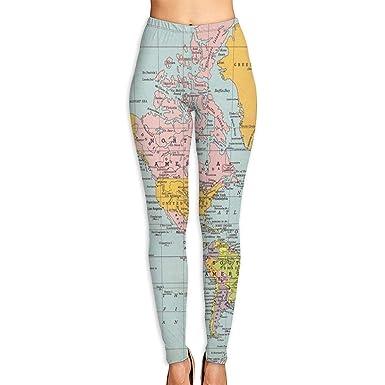Amazon.com: Annieee - Pantalones de yoga para mujer con mapa ...