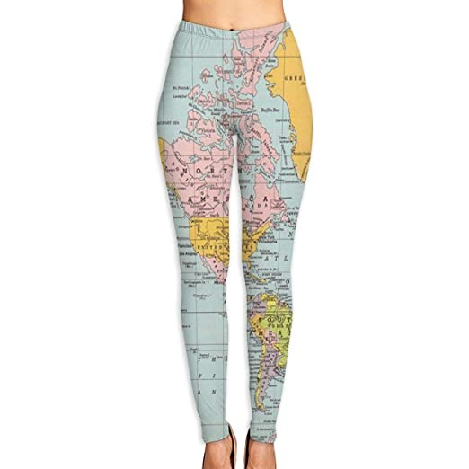 3e9877bf0eb34 Amazon.com: Annieee Women's Yoga Pants World Map Elastic Workout Running Leggings  Pants: Clothing