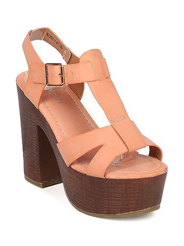 8aad086520b Alrisco Women Leatherette Peep Toe T-Strap Platform Block Heel Sandal HA47