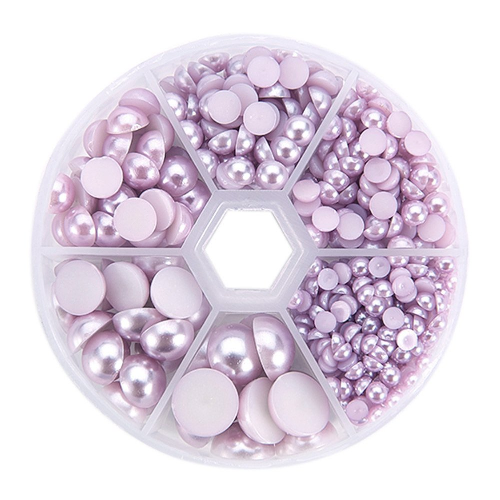 4-12x2-6mm about 690pcs PandaHall Elite 1 Box Half Round Aqua Imitation Pearl ABS Acrylic Dome Cabochons
