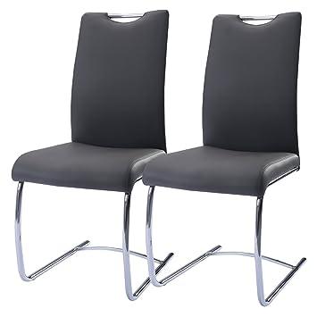 Schon FDS 2 X Leder Und Chrom Esszimmerstuhl Wohnzimmer Stuhl Double Moderne  Lounge Stühle Hohe Rückenlehne Dunkelgrau