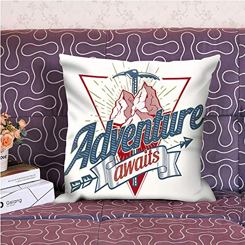 """oFloral Adventure Awaits Letter Throw Pillow Cover Mountain Arrow Square Cushion Case for Sofa Couch Car Bedroom Living Room 18"""" x 18"""" inch"""