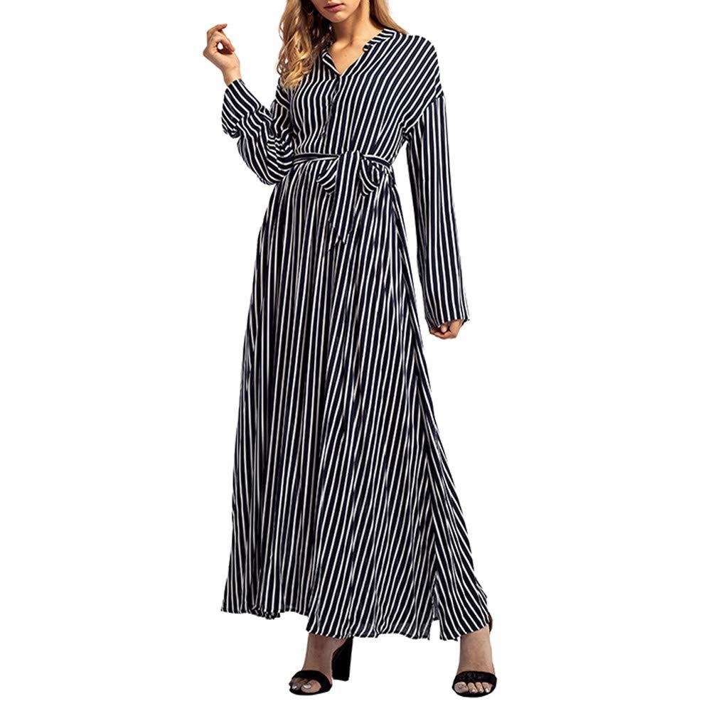 NEW Arriver TOTOD Women Striped Bandage Long Sleeve Islamic Muslim Middle East Maxi Robe Dresses