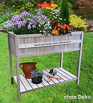 Hochbeet Aus Holz 119x57x90 Cm Grau Gruner Jan Gartenbeet