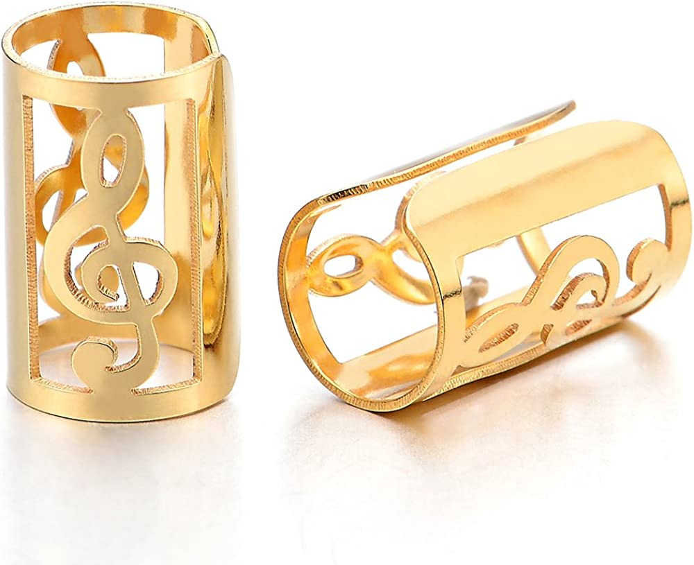 2pcs Mens Womens Gold Color Steel Ear Cuff with Music Note Ear Clip Non-Piercing Clip On Earrings