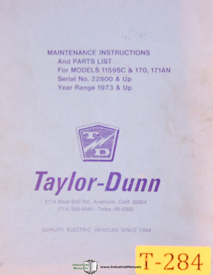 Taylor Dunn 1159sc 170 171an Vehicle Transport Maintenance And Battery Wiring Diagram Parts Manual Books