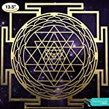 Sri Yantra Mandala from Atman Das. Wall Art Decor Laser Cut Wood Sacred Geometry Meditation Symbol, Golden, Birch plywood, 13.5 inches. Bring Wealth, Good Fortune and Prosperity to your Home/Temple