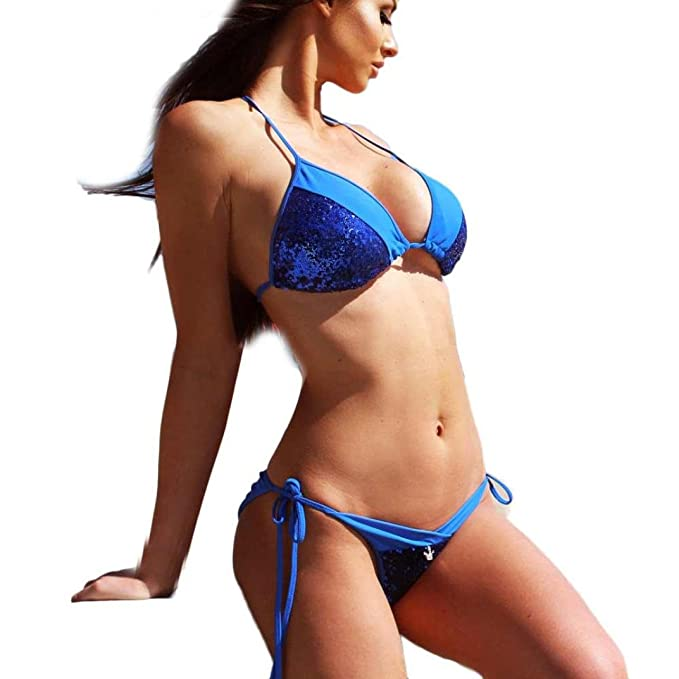 157d03d69c7 Lolittas New Bikini for Women Set Push Up Color Block Sequin Cross Bottom, Sexy Two Piece Swimwear Ladies Swimsuit Beachwear Bikini Bathing Suit  Swimming ...
