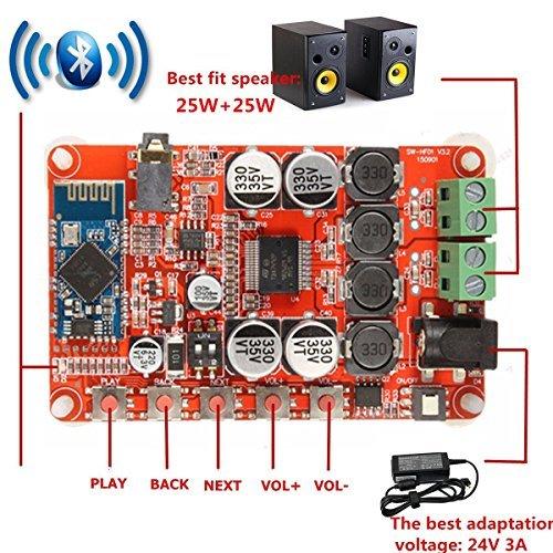 INSMA Amplifier Board 25W+25W Dual Channel Wireless Bluetooth 4 0 Audio  Receiver Digital Amplifier Board with 3 5mm Plug(TDA7492P Chip)