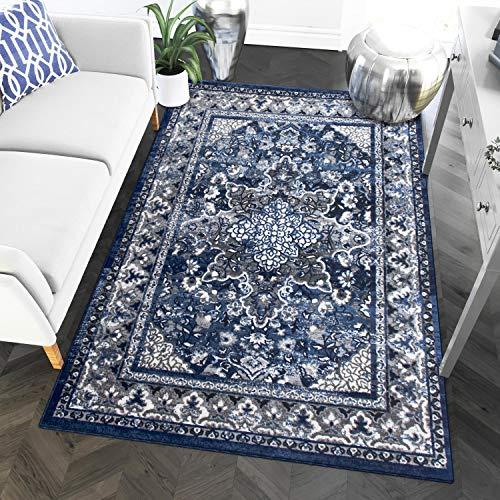 5 x 7 Area Rug Blue & Gray Oriental Medallion Rug for Living Room Dining Room Bedroom Transitional Vintage Distressed Design [ 5' 3