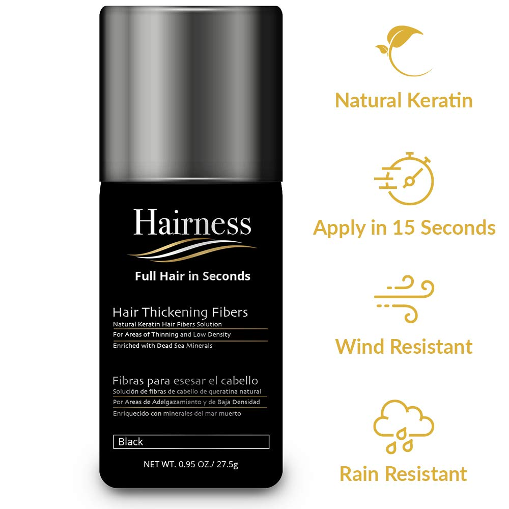Hairness - Hair Fibers for Thinning Hair - Made of Natural Keratin and Enriched with Dead Sea Minerals - Completely Conceals Hair Loss & Add Volumein 15 Seconds, 27g / 0.95oz - Black by Hairness Fibers