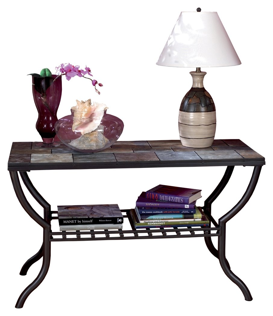 Ashley Furniture Signature Design - Antigo Sofa Table with Console - Slated Top with Metal Bottom - Contemporary - Black