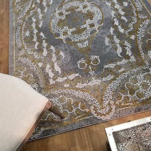 Maxy Home Silky Gold Contemporary Gold Kingdom 5 ft. 3 in. x 7 ft. 7 in. Area Rug
