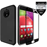 Moto E4 Case With Tempered Glass Screen Protector,IDEA LINE(TM) Heavy Duty Protection Hybrid Hard Shockproof Slim Fit Cover - Black