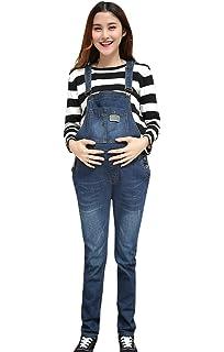 0afc299169036 Aivtalk Women Maternity Spring Soft Denim Overalls Adjustable Jumpsuit Fit  Belly Pants