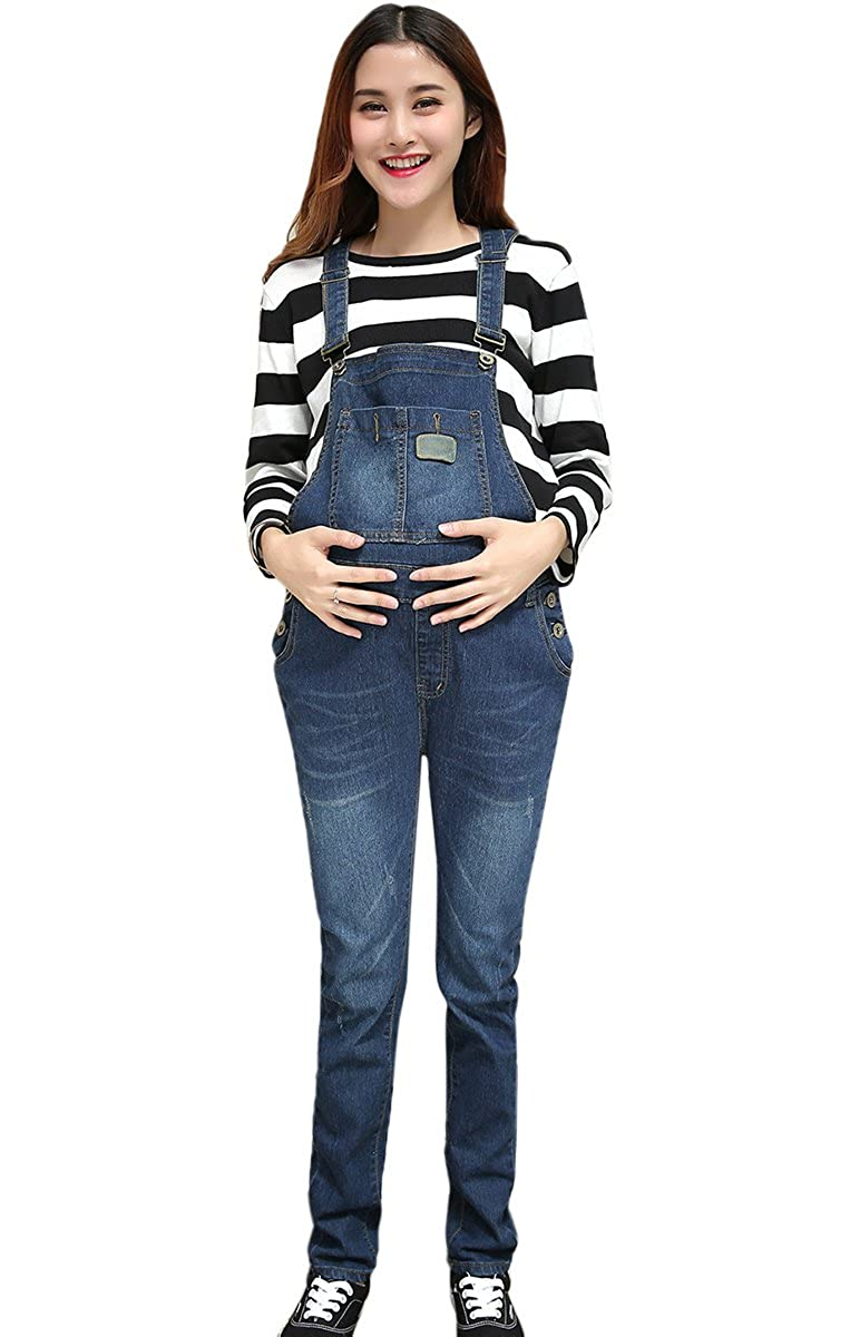 1ca3c769998b Women Maternity Spring Soft Denim Overalls Adjustable Jumpsuit Fit Belly  Pants Aivtalk