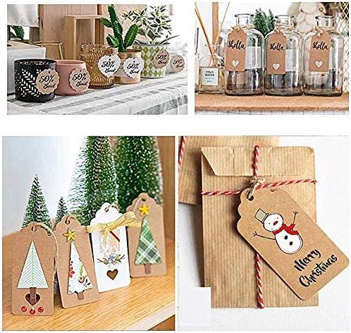 /étiquettes de cadeau papier kraft avec ficelle de jute naturelle 30m Arts et M/étiers pour mariage cadeau No/ël party Jolintek 200Pcs Kraft Papier /Étiquettes De Cadeau