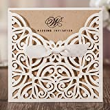 Wishmade Laser Cut Wedding Invitations With Kraft Paper Square Ivory Invitation Cards Elegant Hollow Engagement Bridal Shower Birthday (set of 50pcs)