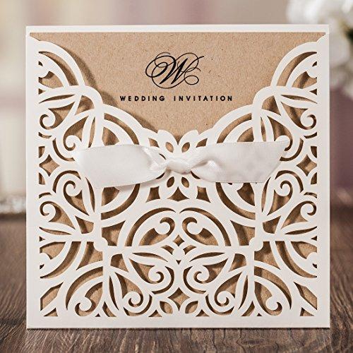 Wishmade Laser Cut Wedding Invitations With Kraft Paper Square Ivory Invitation Cards Elegant Hollow Engagement Bridal Shower Birthday (set of (Cheap 60th Birthday Invitations)
