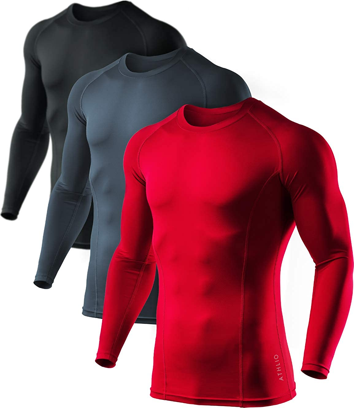 ATHLIO 3 Pack Men's Cool Dry Compression Long Sleeve Baselayer Athletic Sports T-Shirts Tops