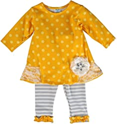 5645e4ca6 Peaches 'n Cream Charming Yellow/Gray Polka Dot/Stripe Outfit with Ruffled  Lace