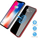 Wireless Portable Charger, Hokonui 10000mAh Qi Charging Power Bank with LED Digital Display External Battery Pack 2 in 1 for iPhone X, iPhone 8, 8 Plus, iPad, Samsung Galaxy S8, S8 Plus (Red)