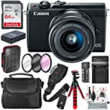 Canon EOS M100 Mirrorless Camera w/ 15-45mm Lens & WiFi (Black) + 64GB + Battery & Charger Replacement + Flex Tripod + Deluxe Bundle