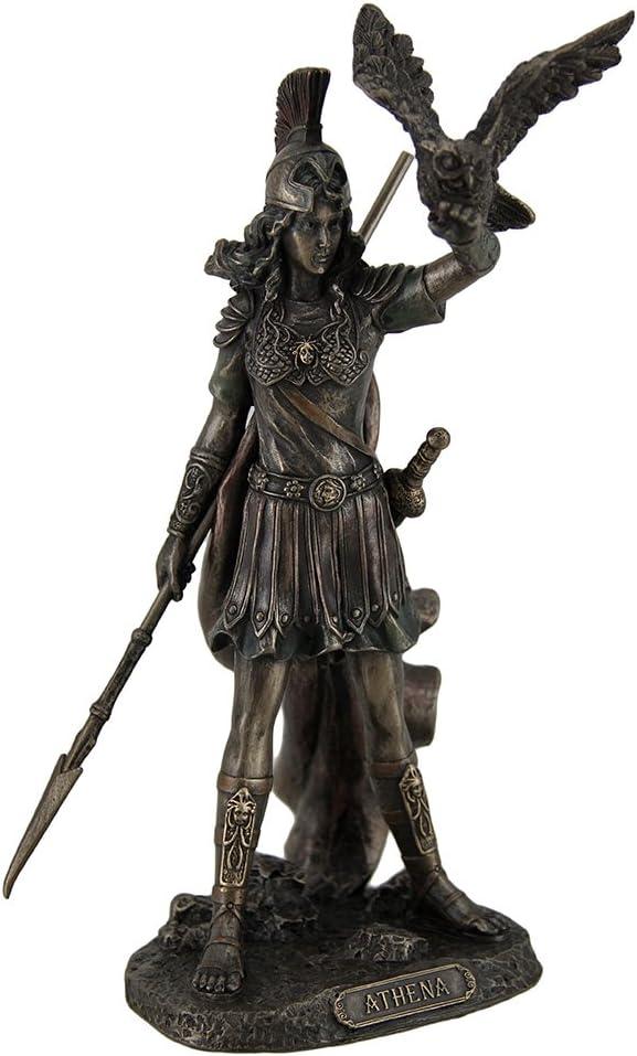 Athena - Greek Goddess Of Wisdom And War with Owl Statue