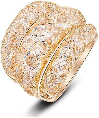 Mytys Mesh Crystal Net Cubic Zirconia Cooktail Ring 18k Rose Gold