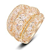 Mytys Mesh Crystal Net Cubic Zirconia Cooktail Ring 18k Rose Gold (9)