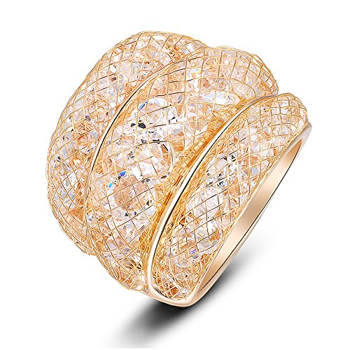 Mytys Mesh Crystal Net Cubic Zirconia Cooktail Ring 18k Rose Gold (9) by Mytys