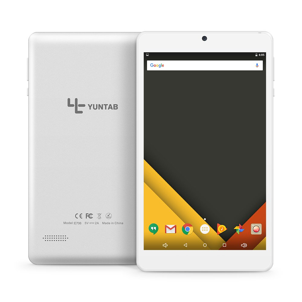 Yuntab 7 inch Android6.0 Tablet PC Alloy metal back C7 Quad Core IPS 8001280 Screen 2GB+16GB with WIFI GPS and Dual Camera (silver)