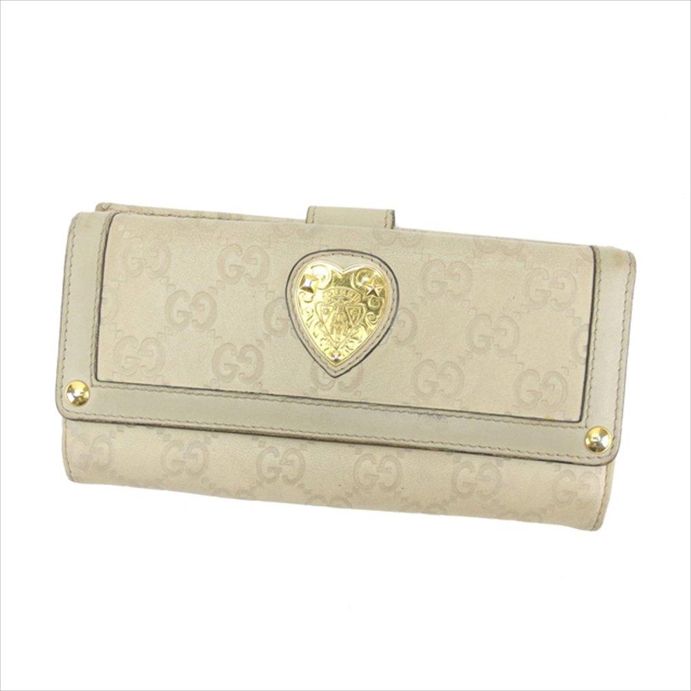 (グッチ) Gucci 長財布 Wホック 二つ折り ベージュ×ゴールド ハートクレストディティール グッチシマ レディース 中古 D1330   B01LY96MRE