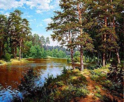ししゅう糸 DMC糸 クロスステッチ刺繍キット 布地に図柄印刷 河辺林中 B0725TVHFC