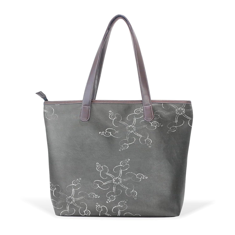 Womens Leather Tote Bag,Retro Snow Flower,Large Handbag