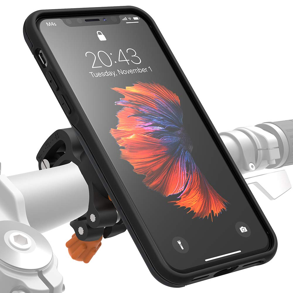 MORPHEUS LABS M4s iPhone Xs Max Bike Mount, Phone Holder & iPhone Xs Max Case, Bicycle Cell Phone Holder, Adjustable, fits Most Handlebars, 360 Rotation Stand, Bike Kit for iPhone Xs Max [Black]