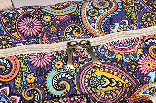 Malirona Canvas Overnight Bag Women Weekender Bag Carry On Travel Duffel Bag Floral (Purple Flower) by Malirona (Image #7)