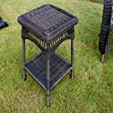 Portside Wicker Side Table - Dark Roast
